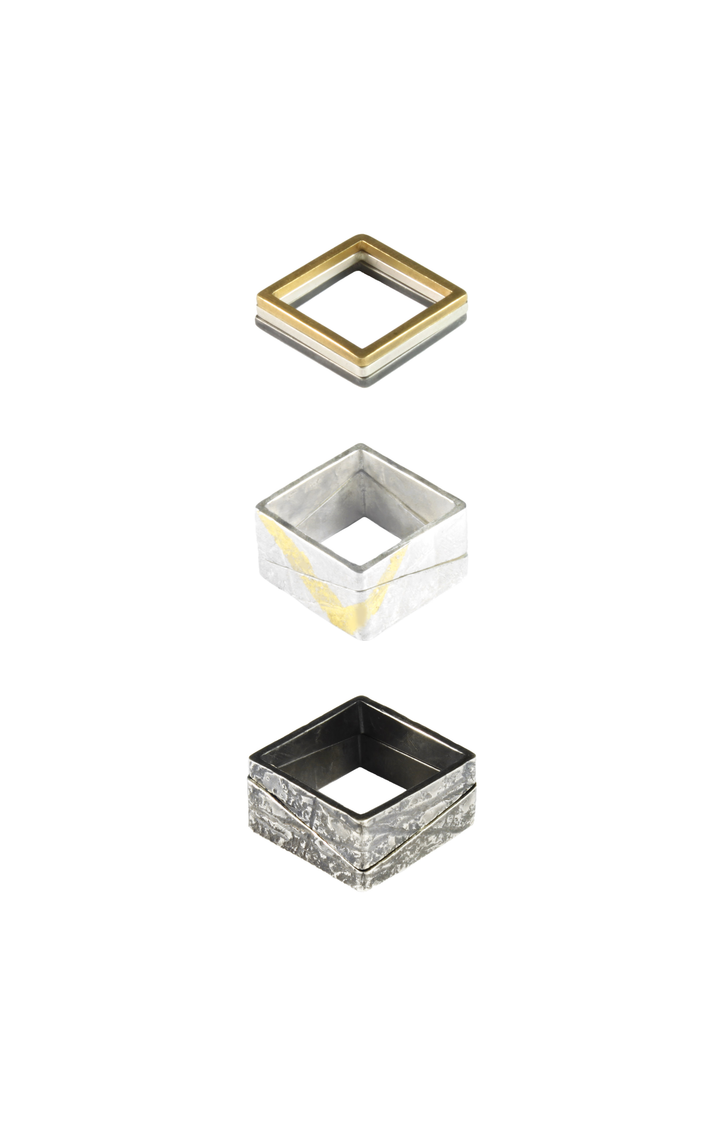 Rhona McCallum, Square Stacking Rings, Silver, Oxidised Silver and 22ct gold detail.jpg