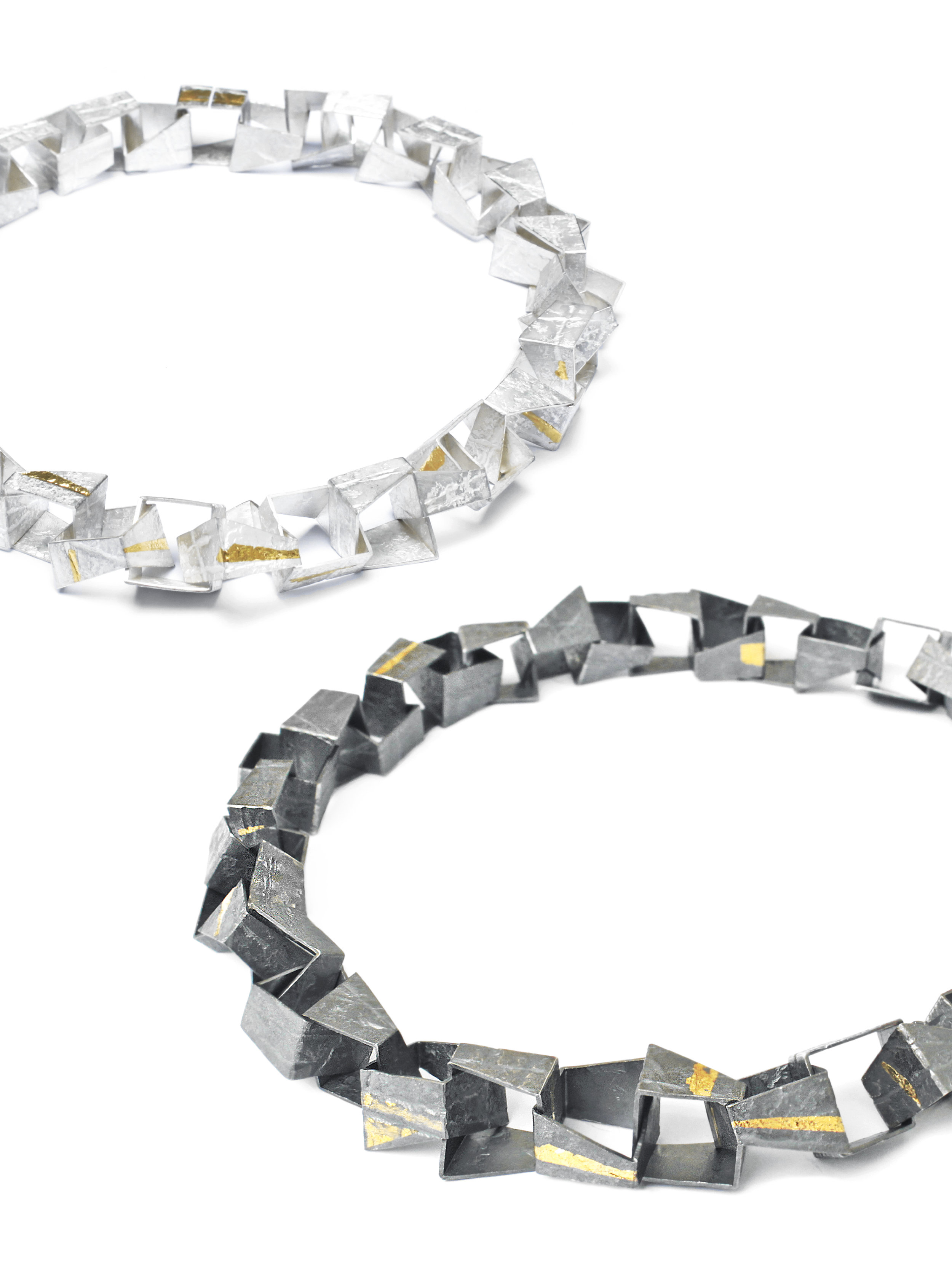 Rhona McCallum Fault Lines Necklaces, Silver and 22ct gold detail.jpg