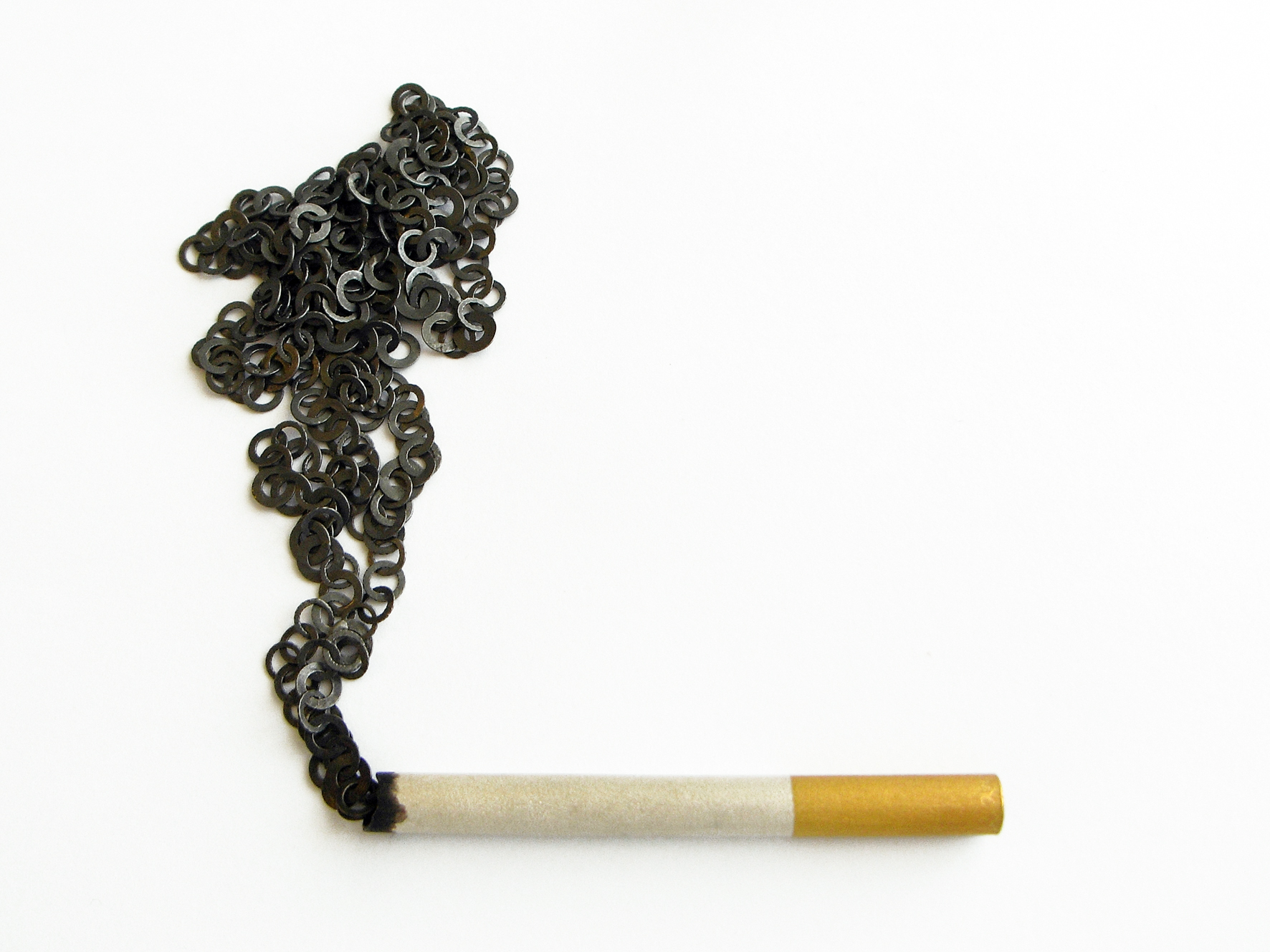 """Cigarette"" necklace , silver 925, 22ct gold plated, Akiko Kurihara"