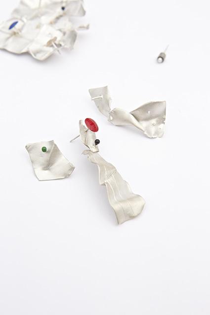 """Torn Earrings Wall Plug with Fresh Water Pearl""  Silver, enamel, pearl,Holly O'Hanlon"