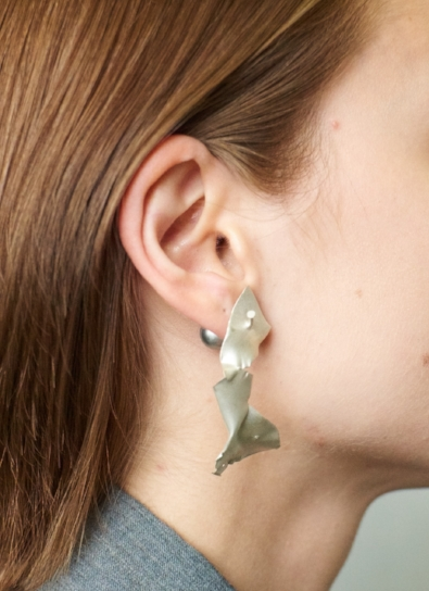 """Torn Earring with Nail""  Silver, Holly O'Hanlon"