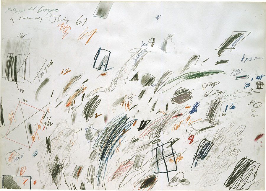Cy Twombly,  Untitled (Bolsena)  1969, wax crayon, pencil