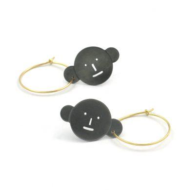 Earrings Wearing Earrings,  Silver, 18ct Gold. Akiko Kurihara.  Sometimes earrings want to wear earrings too...