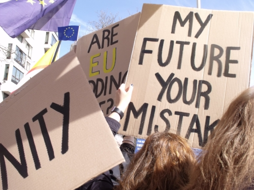 Jo went to protest marches during the E.U referendum whilst studying her MA