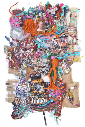 "Loukia Richards often creates her tapestries as a live project leading participants on a ""Trash Safari"" to collect the materials for making the pieces."