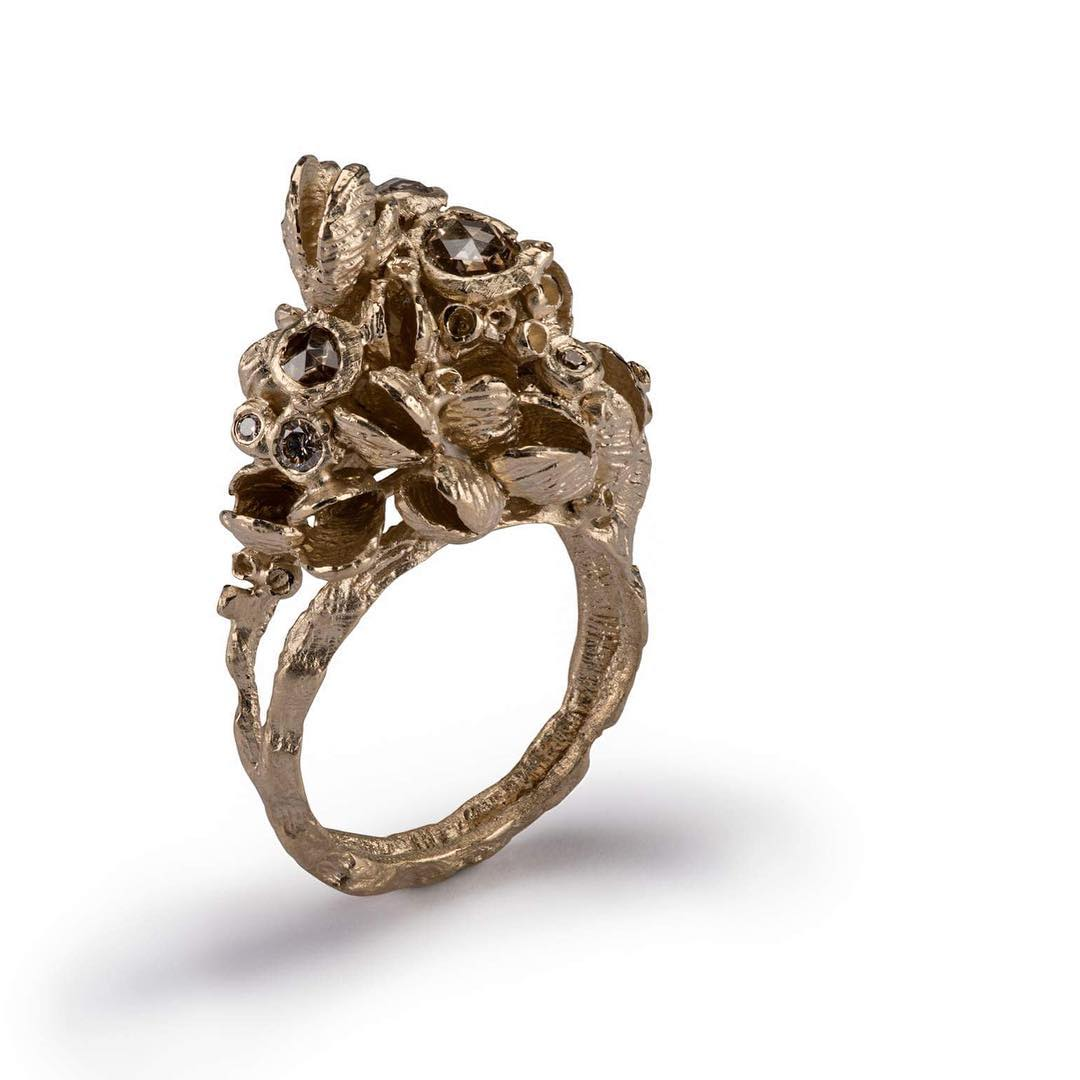 Ami Pepper signature Shell Cluster ring with rose cut diamonds