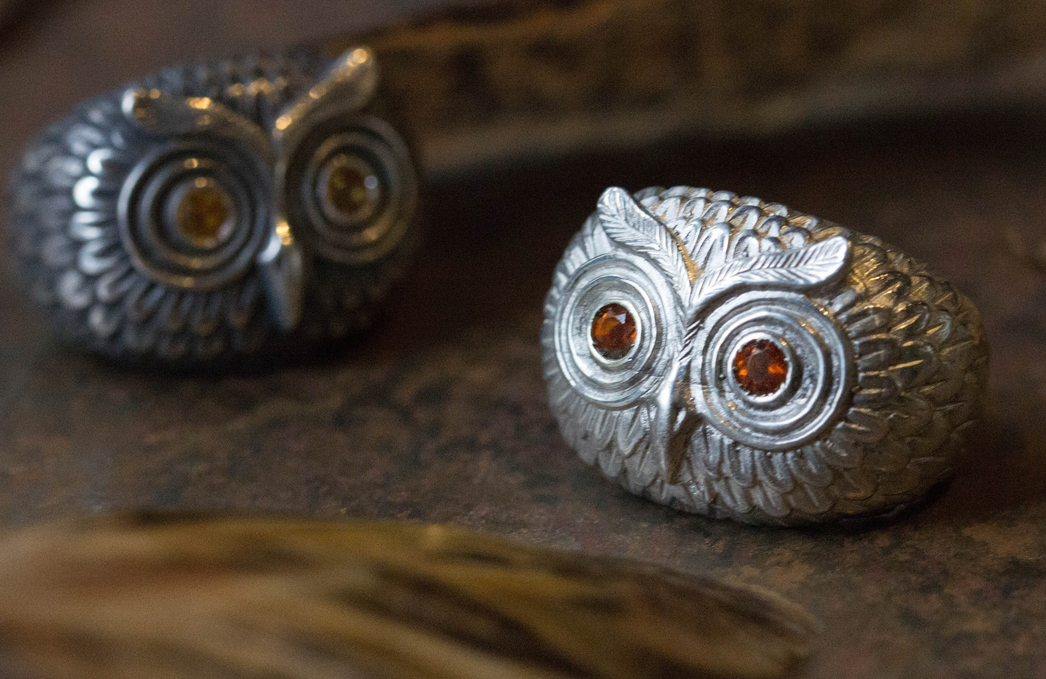 New silver & sapphire owl rings, as worn by Catherine herself