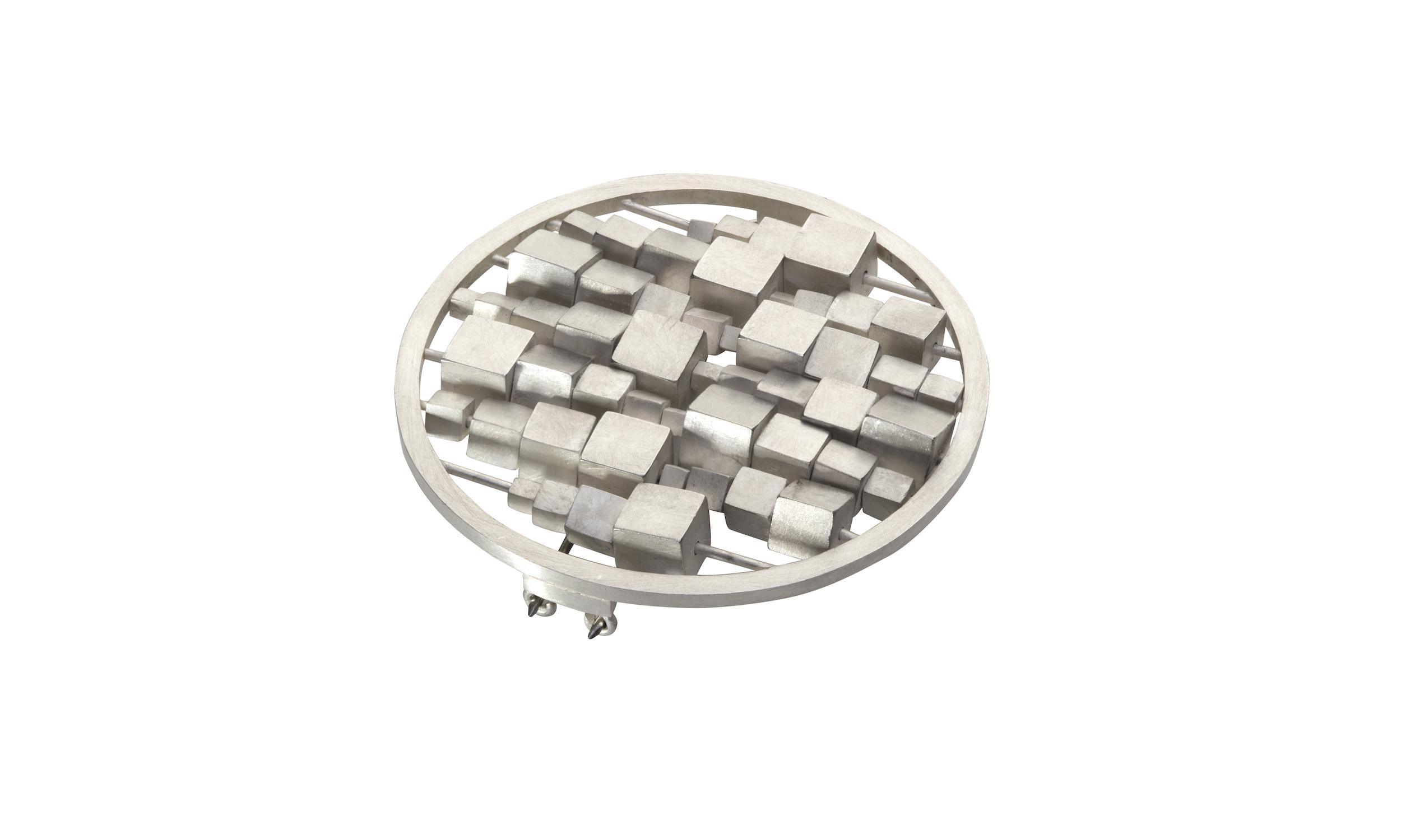 Sarah Pulvertaft Large Cube Sequin brooch - silver 2.jpg