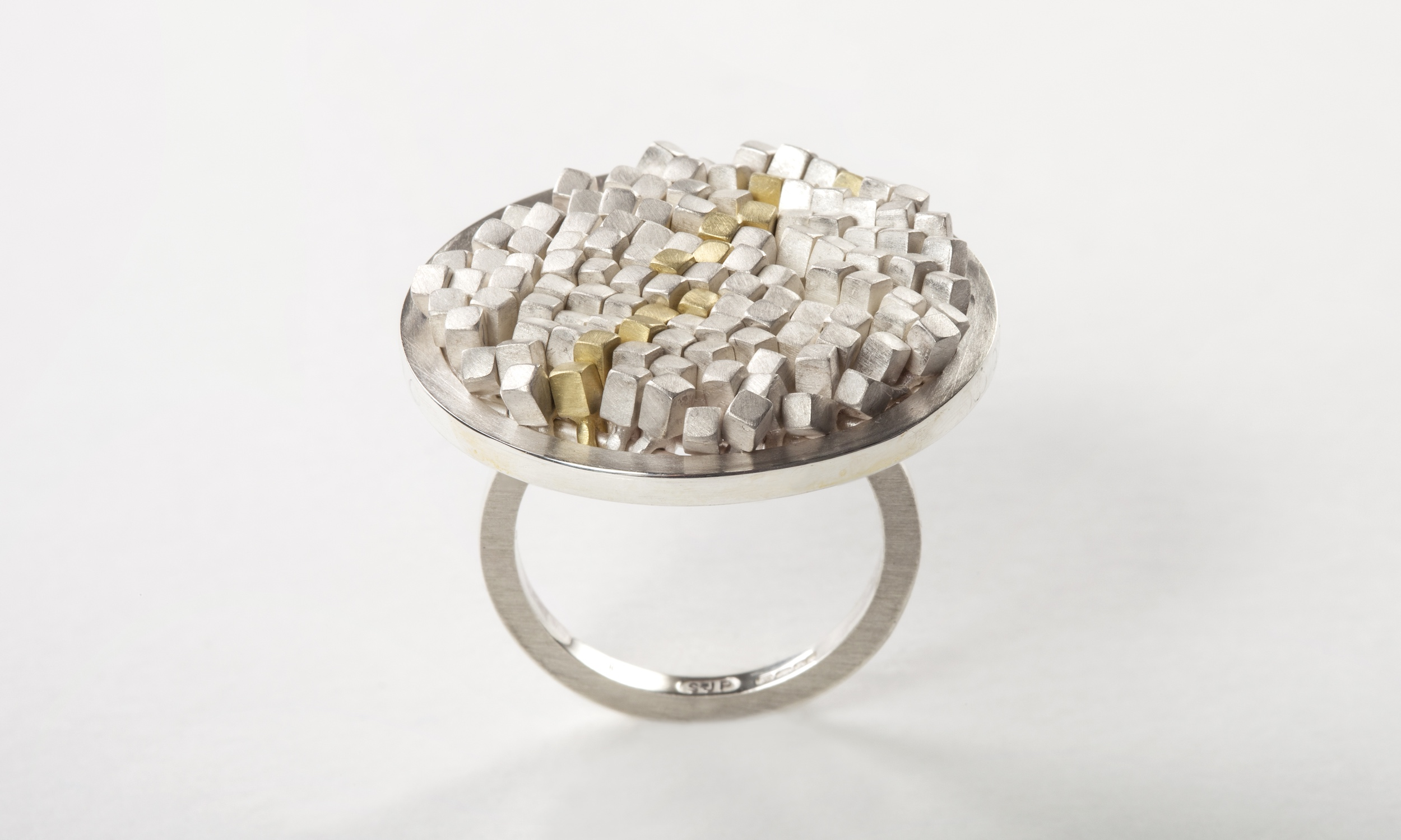 Sarah Pulvertaft Undulating Sequin ring - silver & 18ct gold.jpg