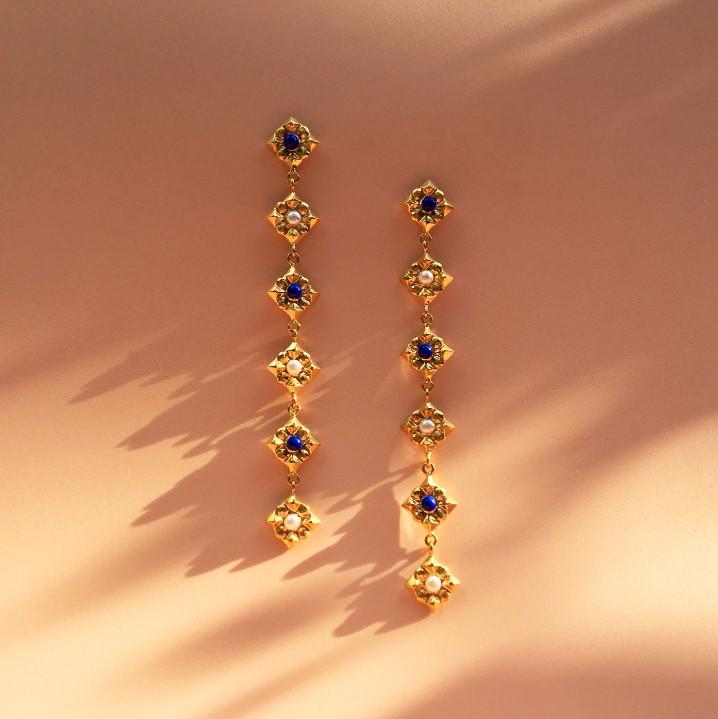 Extra long Lucia Earrings Lapis&Pearls.jpg