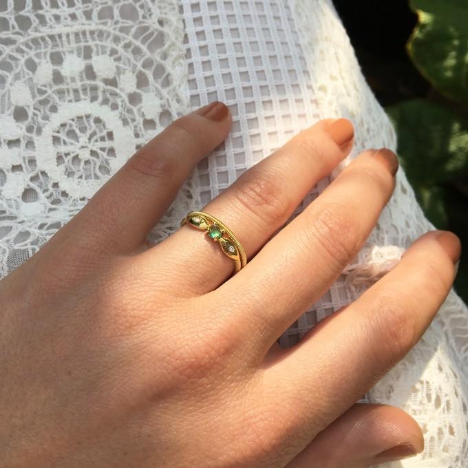 Juni Twist Ring Emerald + Ana Solo Ring.jpg