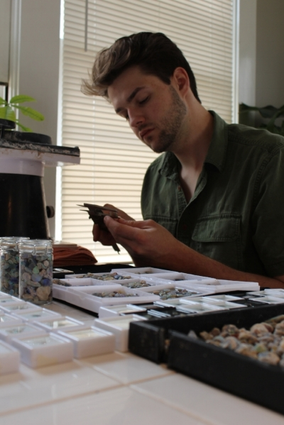 Loren Gurche, the palaeontology student who cut the opals for this exhibition