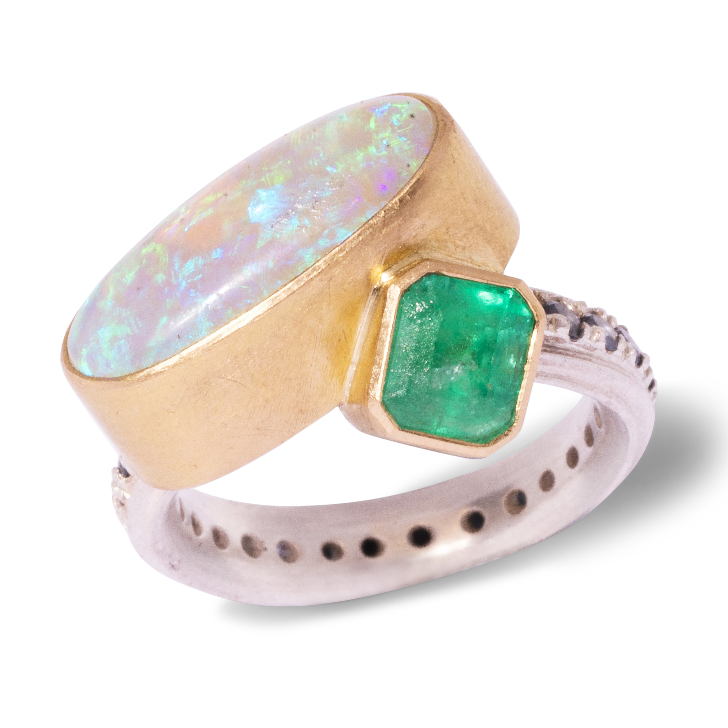 Chris Boland Silver, 18ct gold Emerald Ring