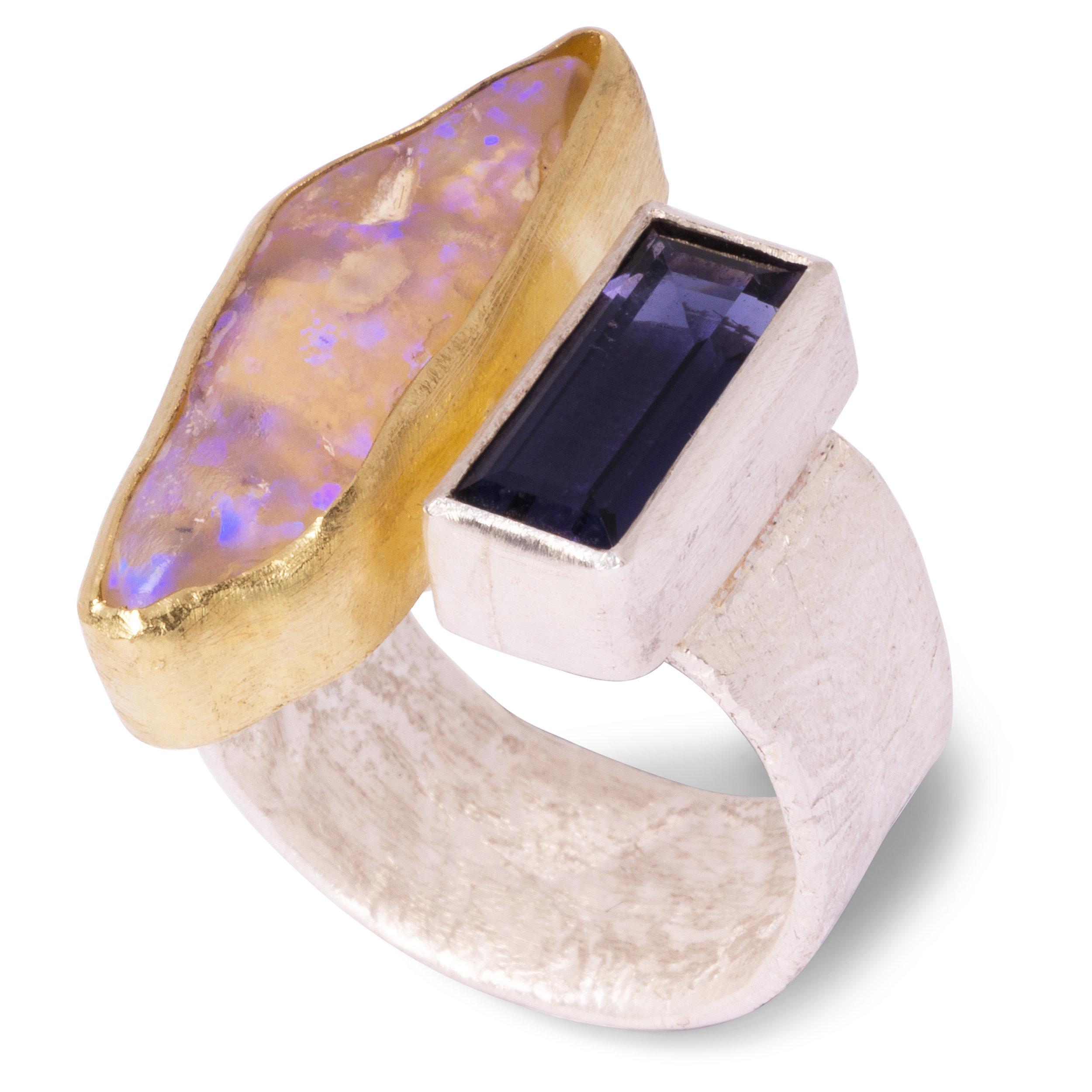 Disa Allsopp Silver 18ct Yellow Gold Iolite Ring
