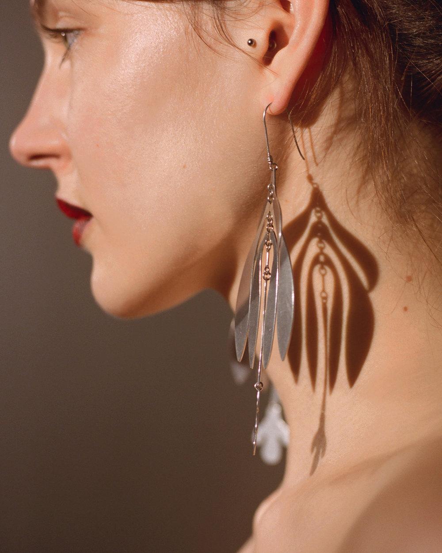 BOTANY earrings in silver metallic finish