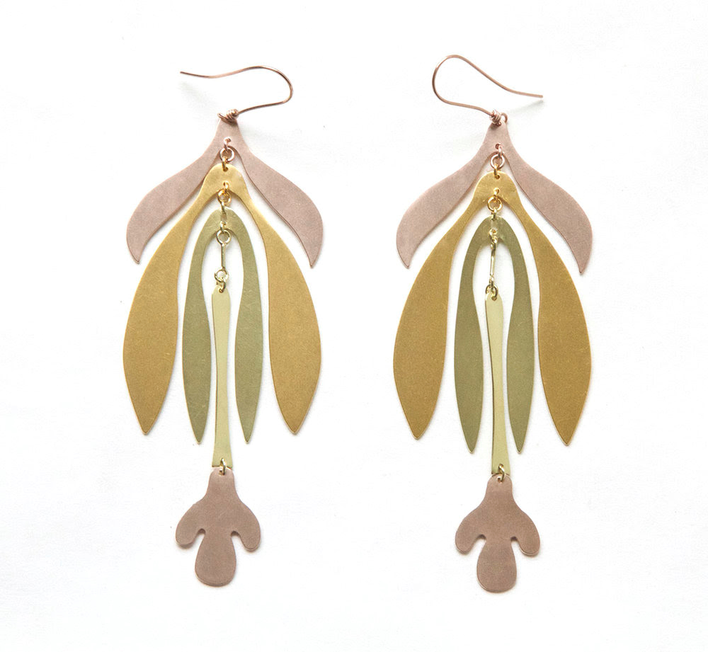 Mixed Gold tone earrings in Sian Evans new BOTANY collection at Gill Wing