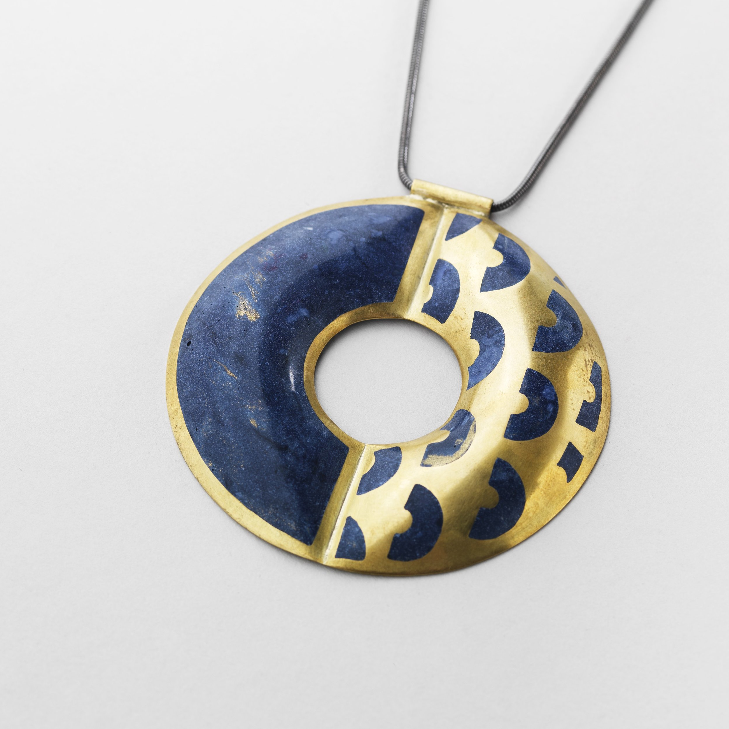 5. C.Hegney, Ultramarine Adjustable Pendant, brass, bio-resin, on oxidised silver chain (1).jpg