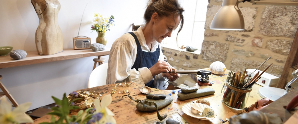 Emily making in her studio in West Cornwall