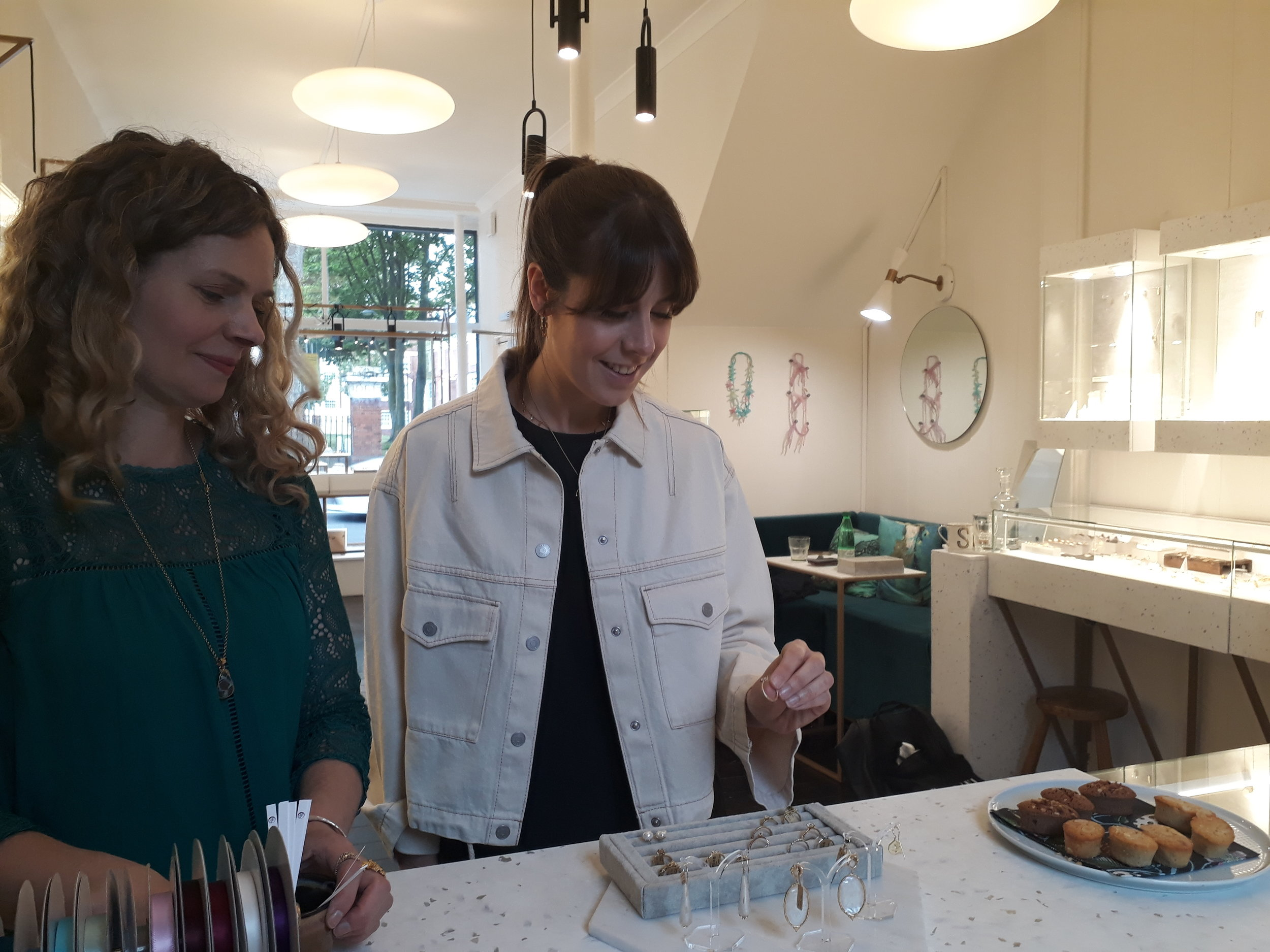 Hitched's Sarah accompanied by our own Sarah, always on hand to help with those tricky jewellery choices.