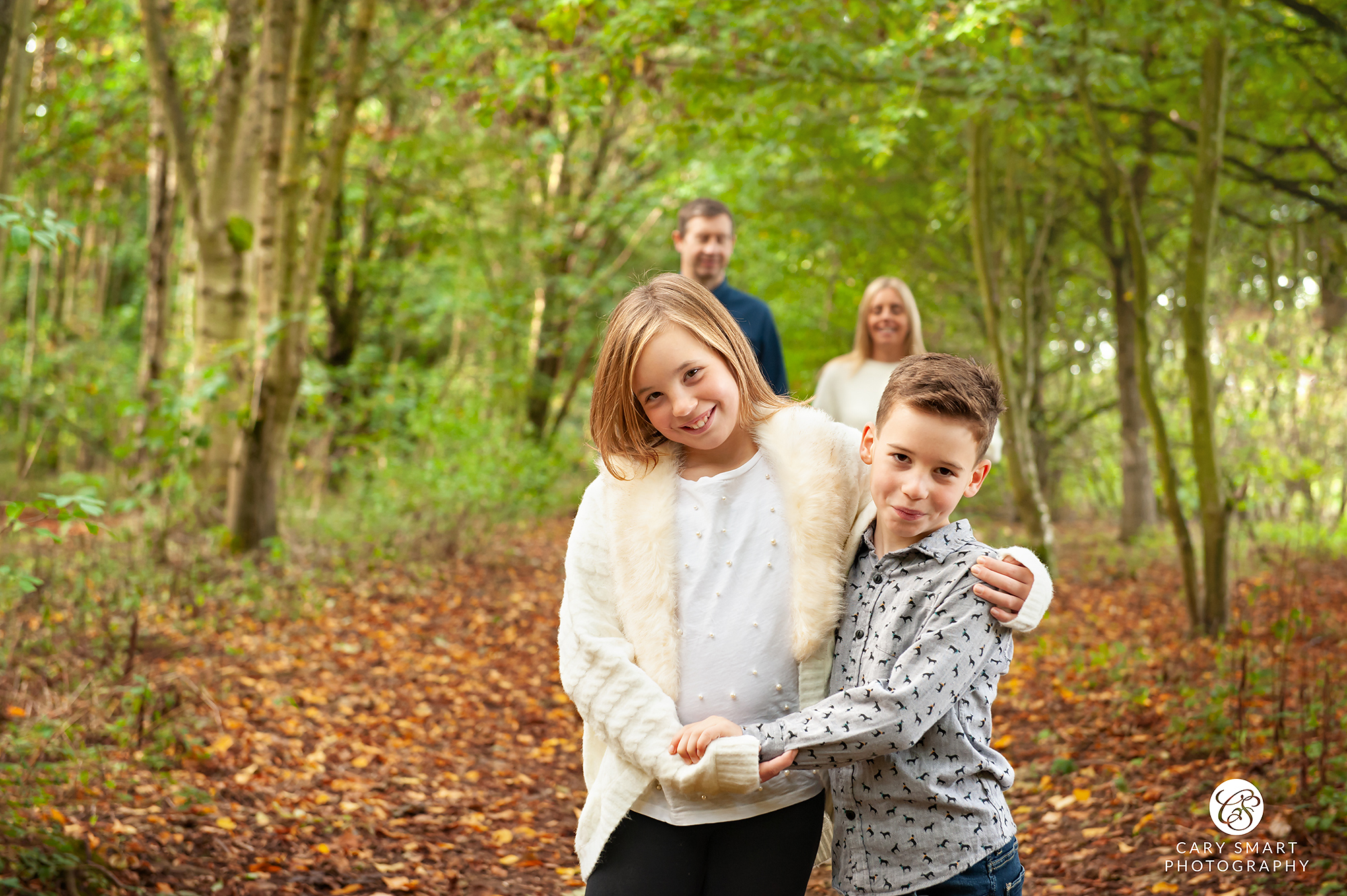 Family photo shoot in the woods Caldicot