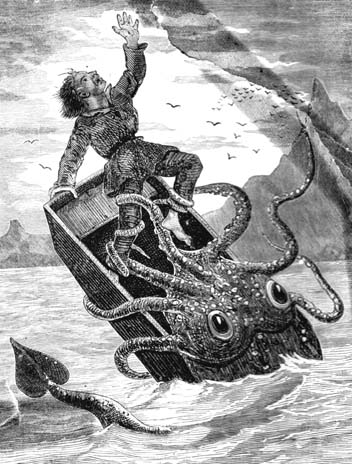 Giant squid do not actually want to eat rowboats or the people in them.