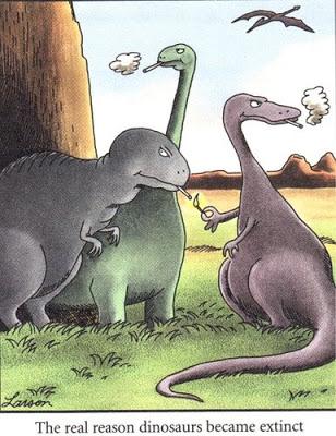 Gary Larson The real reason dinosaurs went extinct cartoon