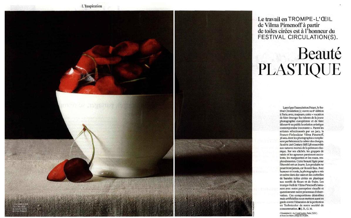 l'Express Styles, l'Inspiration: Beaute plastique, le travail de Vilma Pimenoff 30th of March pages: 8-9