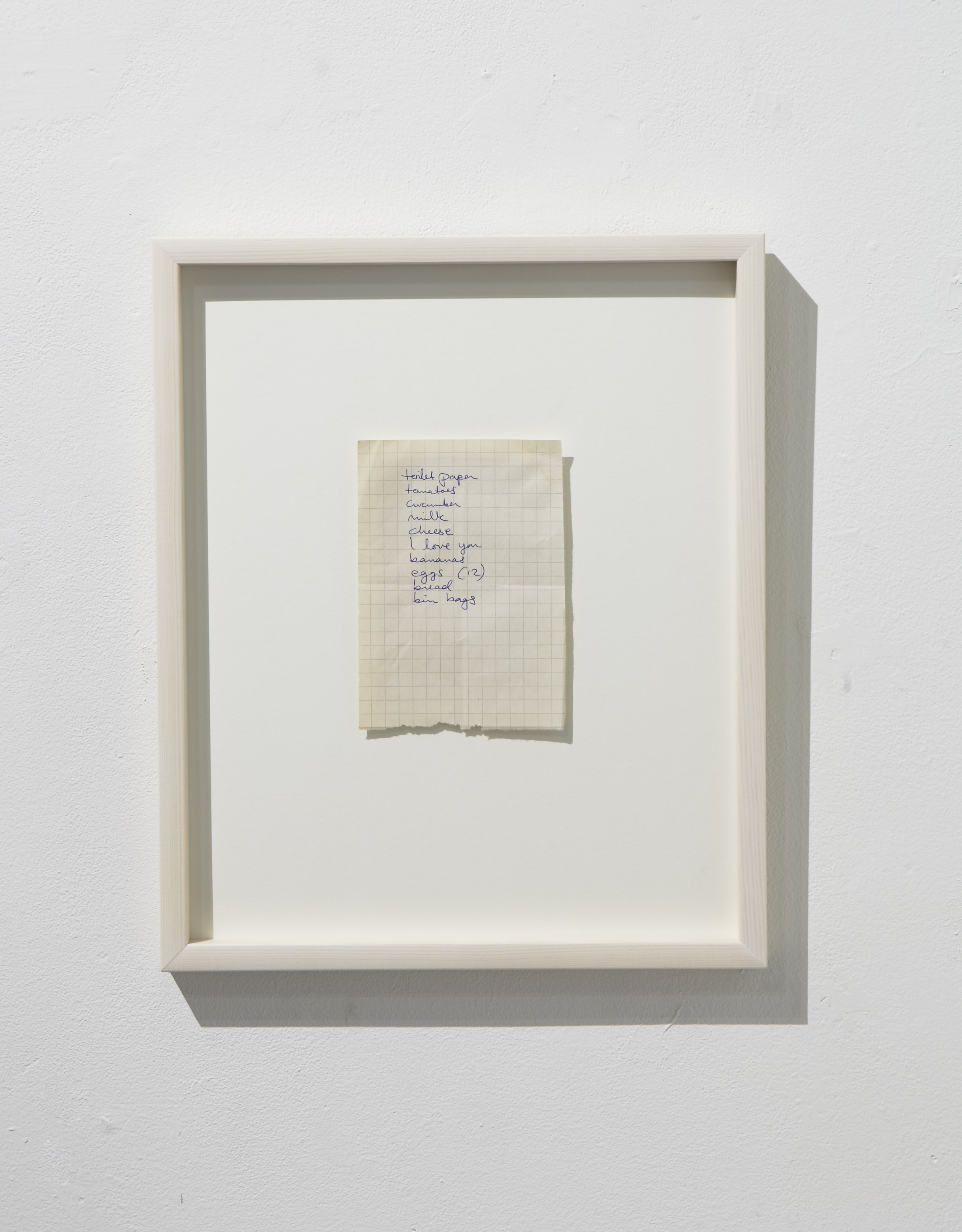 'Shopping list' (2017) , @ galleria Huuto,  What is Love? (baby don't hurt me) -exhibition  2017