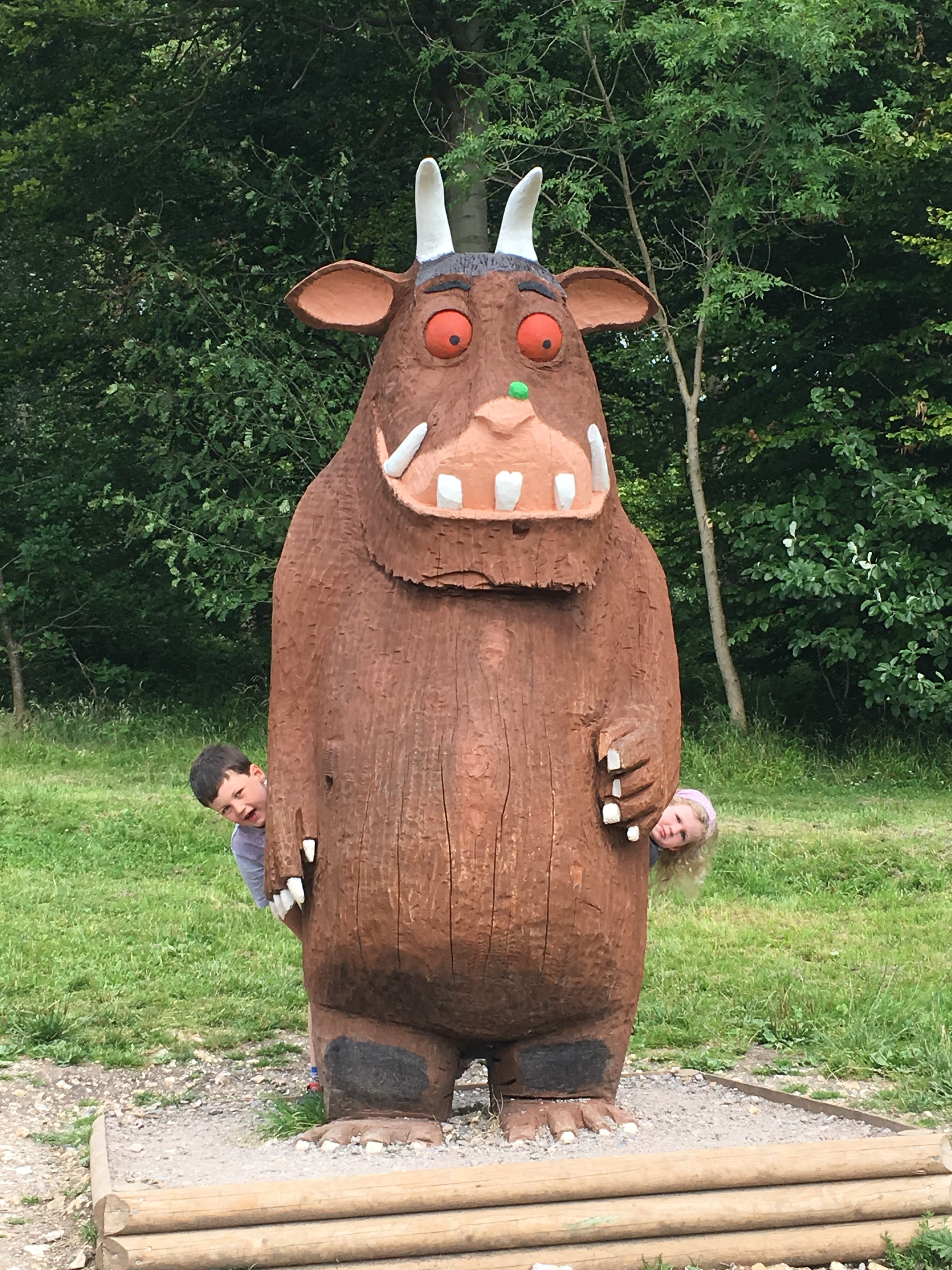 There's a sign requesting you don't climb on him, but quite frankly what else are those purple prickles for? No child can resist scaling a gruffalo.
