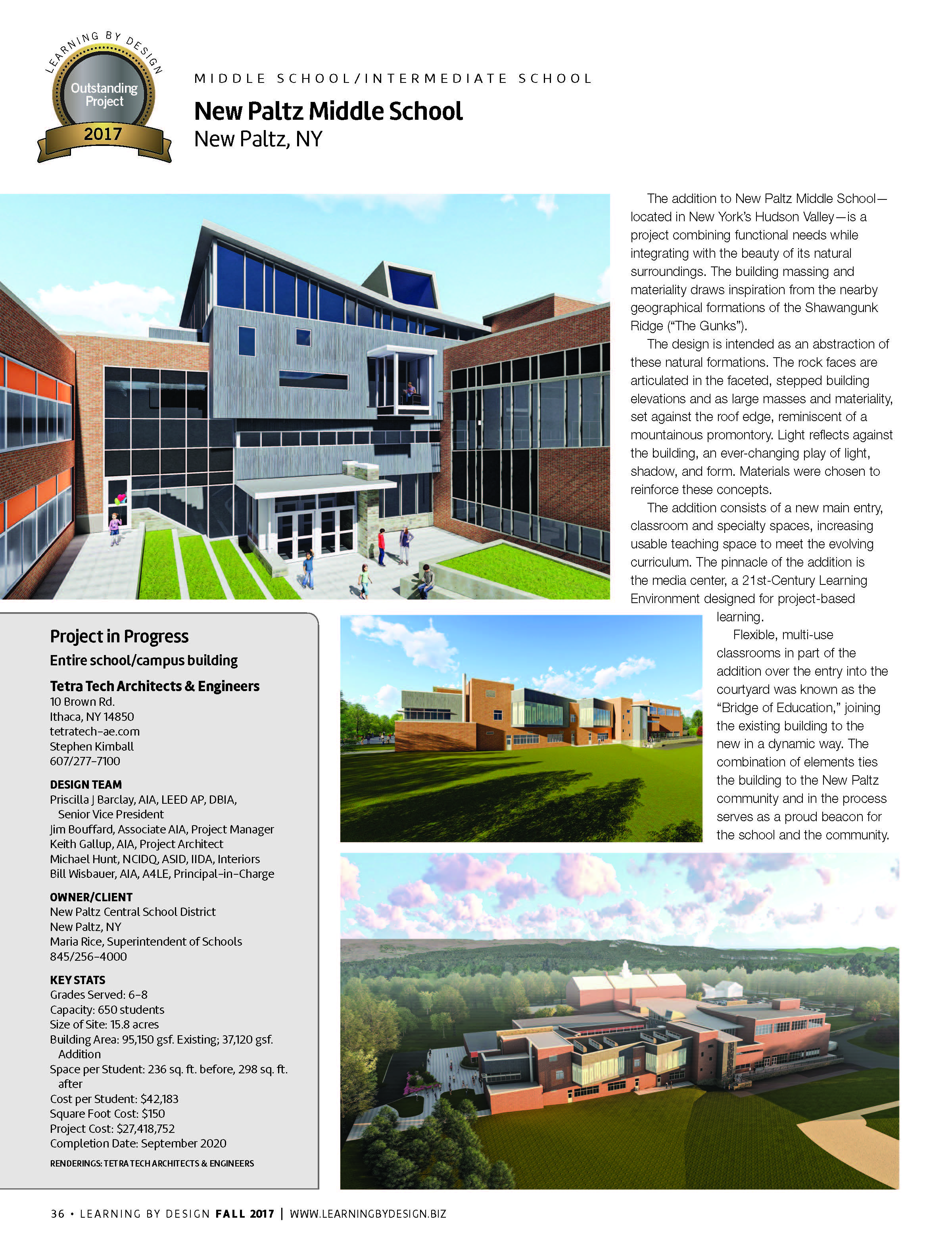Learning By Design: Outstanding Project Award for New Paltz Middle School