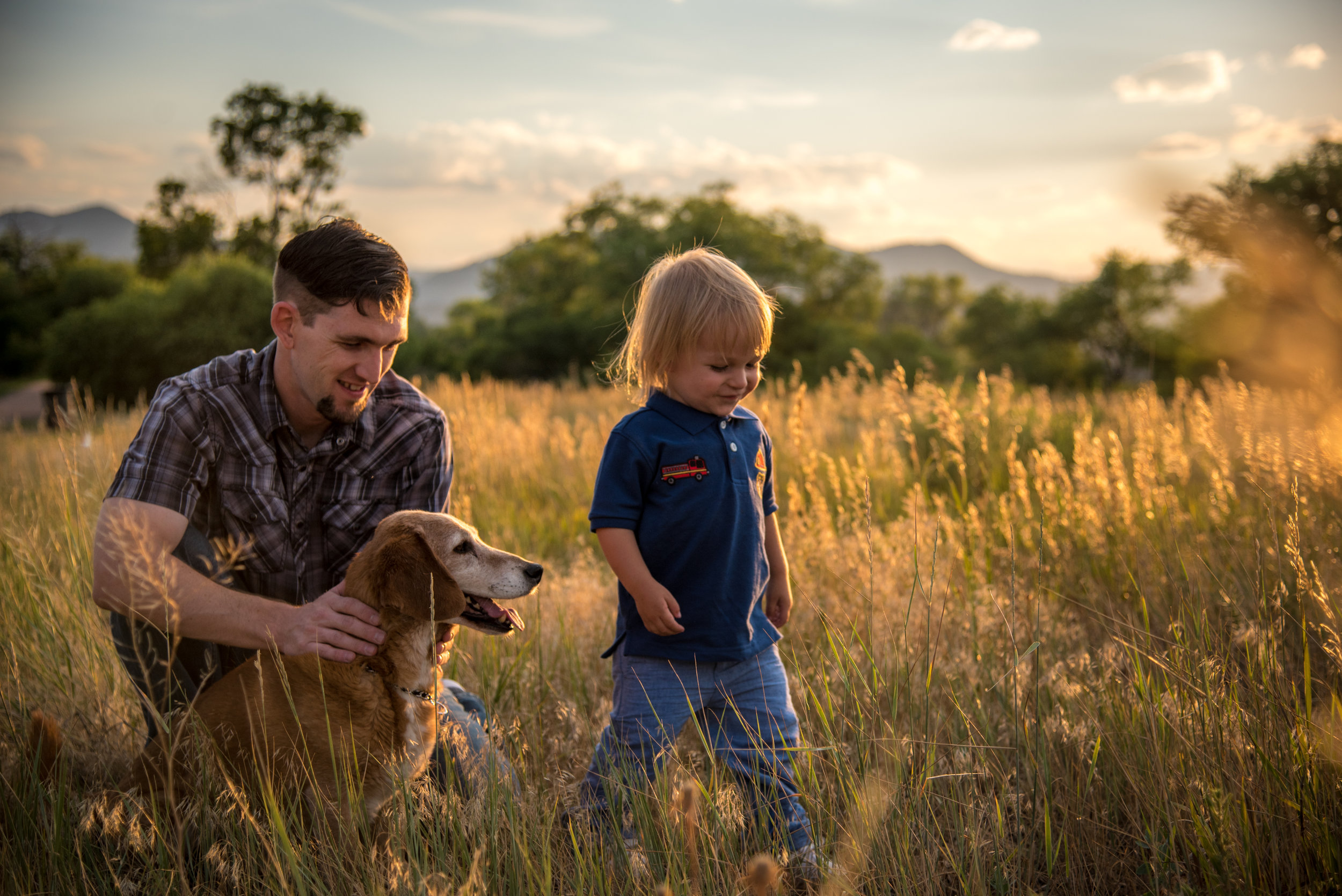 father son family golden hour pet portrait natural candid melanie lynn photography