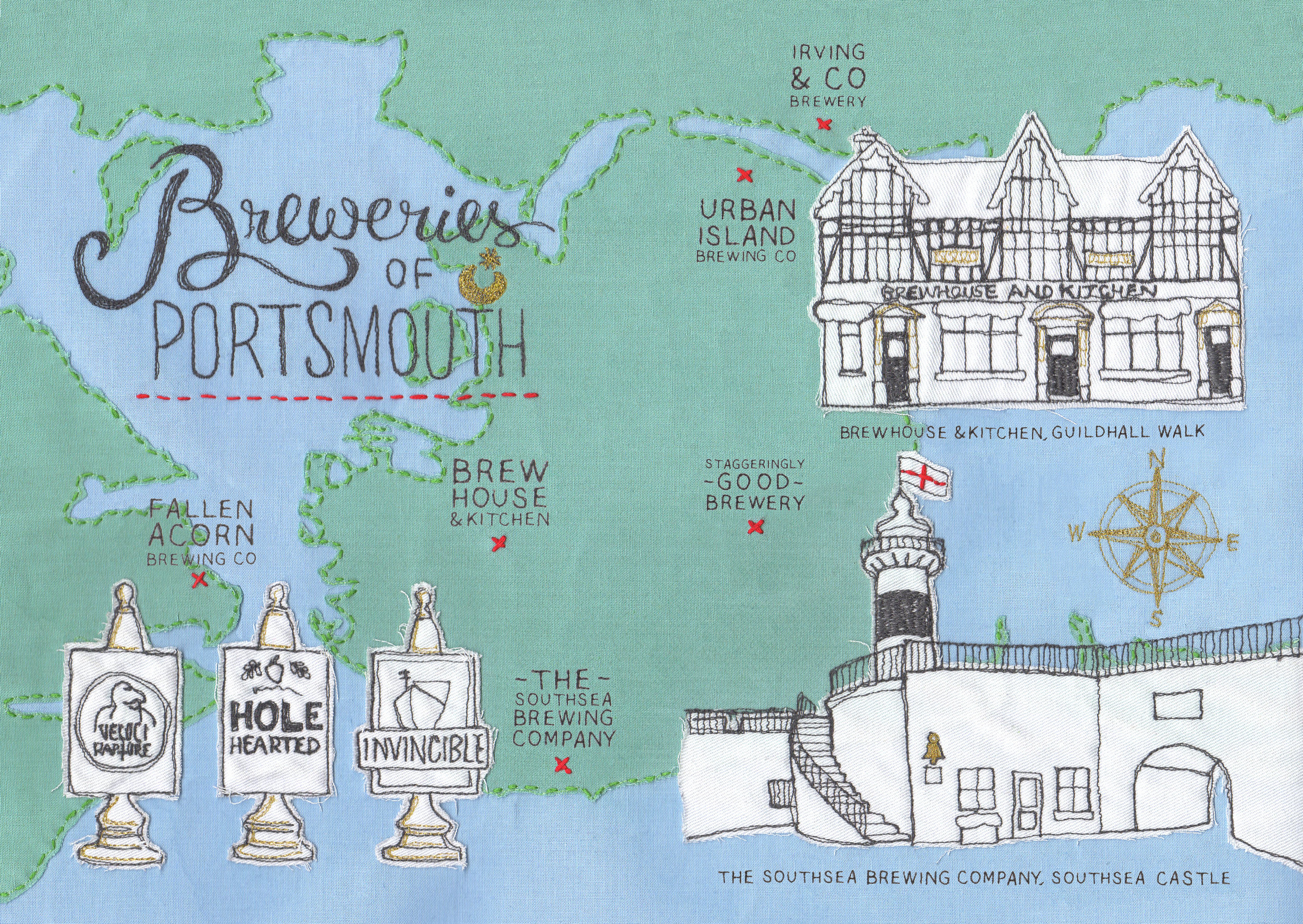 Breweries of Portsmouth Artwork for Taste Of Portsmouth Magazine