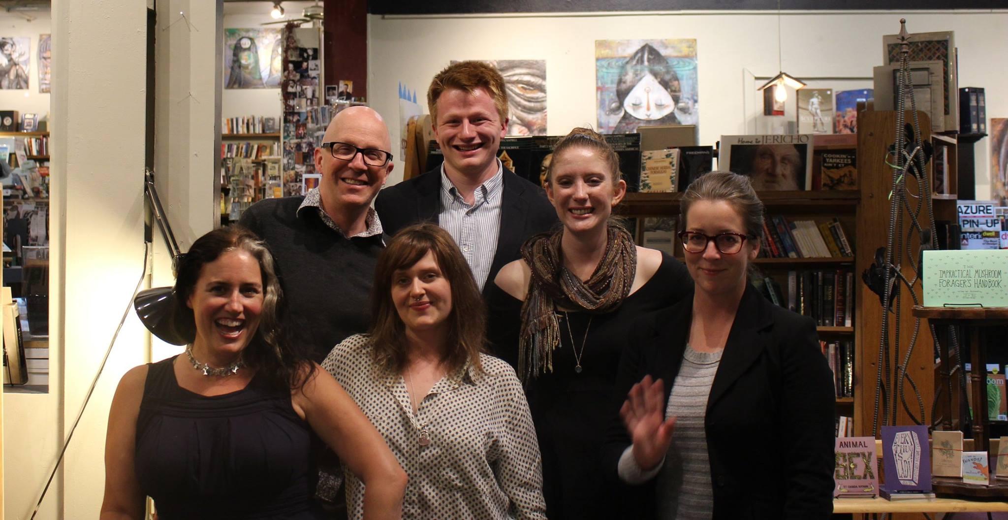 From L to R: Lockie Hunter (hostess), Gary Hawkins, Caroline Wilson, Michael Pittard, Stephanie Johnson and...me. Awkwardly waving.