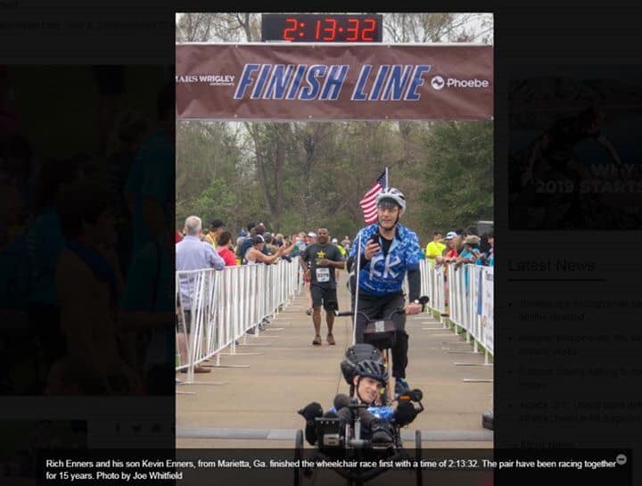 Kevin as seen in the Albany paper for winning the wheelchair division. FAST!