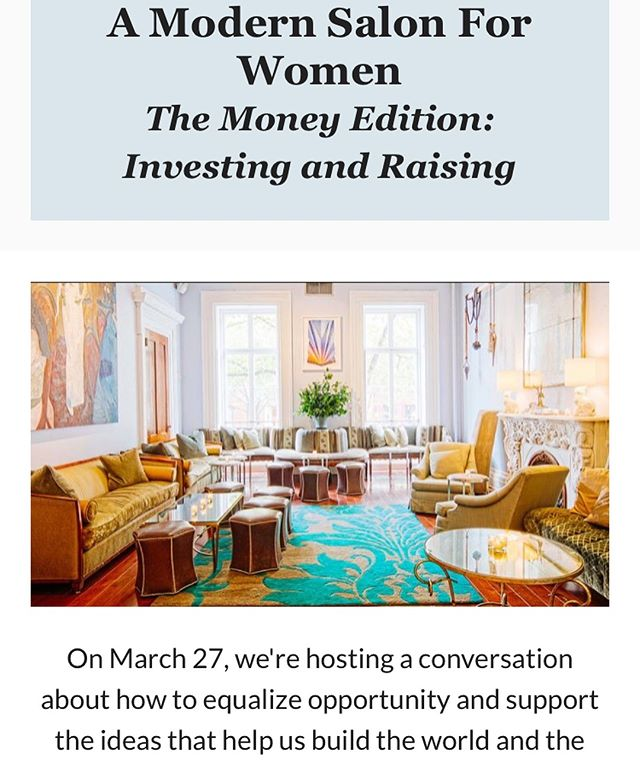 It's happening! We're doing another Modern Salon for Women next Wednesday, and we're going to talk about Money. If you want to start a business, raise money, start a fund, invest, or just figure out what to do with all your 💰💰, join us!  Guest speakers: Karen Cahn and @melissazmoore  We'll have plenty of amazing food & wine, and of course, the company of some amazing women. 🥂👊✨ Info —  studiokairos.co/work