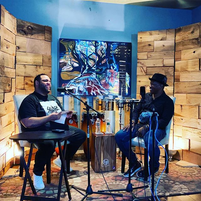 This afternoon I sat in on the recording of a podcast episode for #wearerhythm, a series we're producing for @lpmusicofficial.  Host @jhairbabysala chatted with @damonmgrant about his life as a musician, learning how to play from some of the greatest percussionists in the world, and what his fantasy supergroup would be. Such a fun conversation to listen to. 🎧🎤🥁 It's going to be a great episode. #lpmusic #revoicemedia
