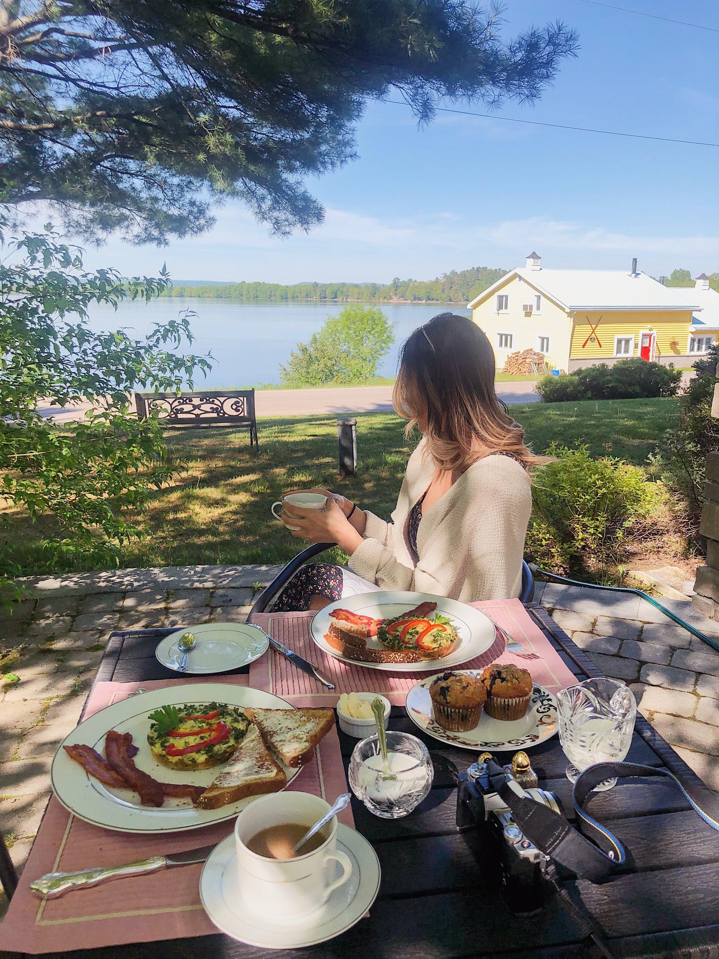Breakfast outside the B&B