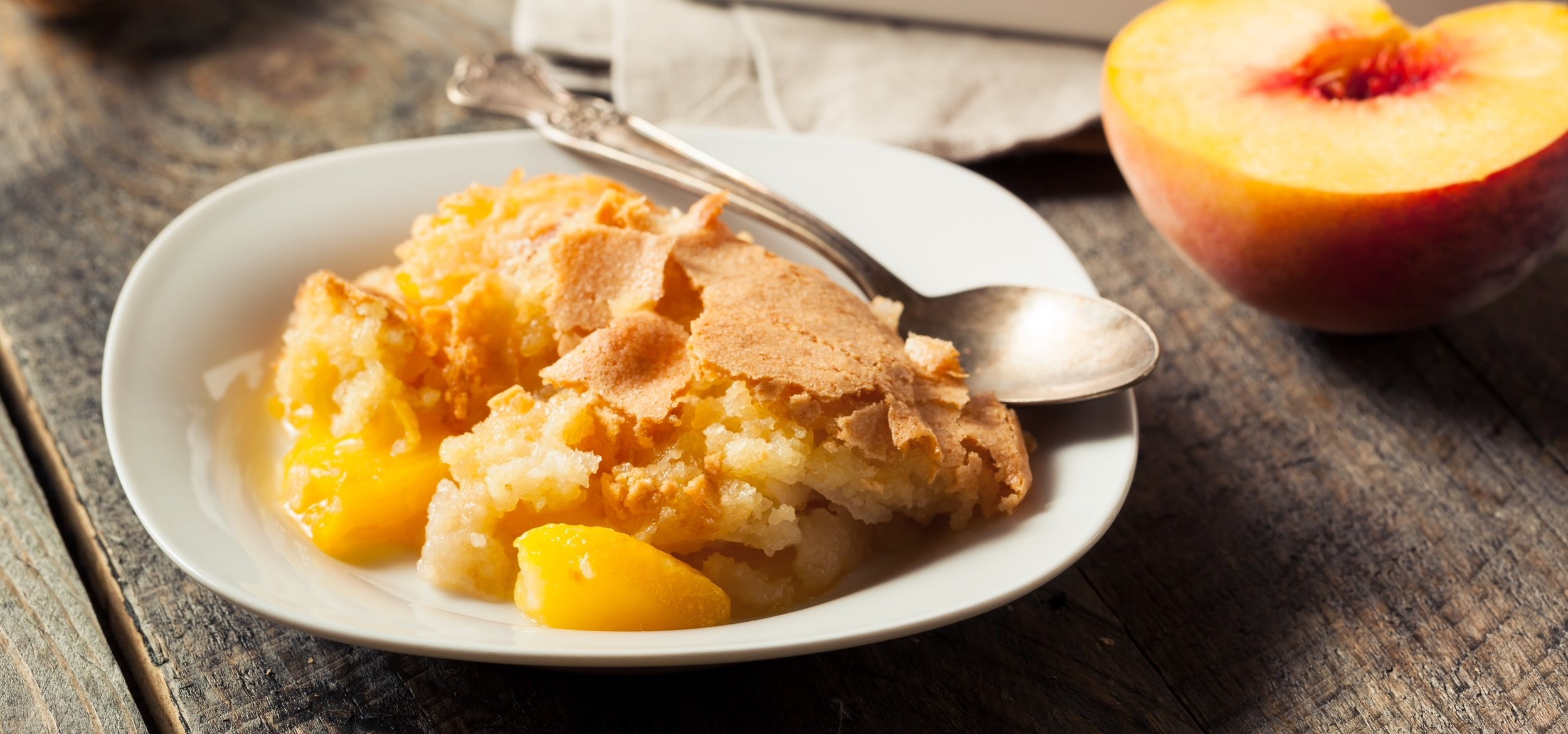 Peach Cobbler - A California peach is a thing of beauty to eat fresh from the tree, but it also makes people smile when baked into a cobbler.