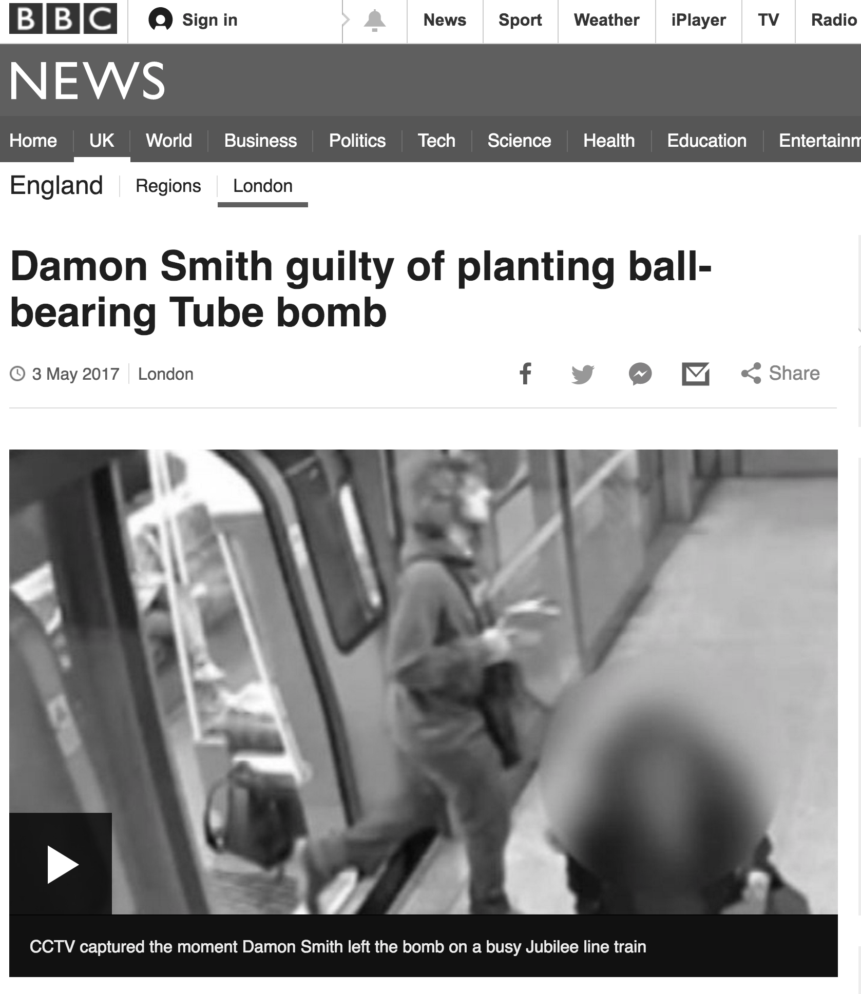 The BBC article on Damon Smith conviction