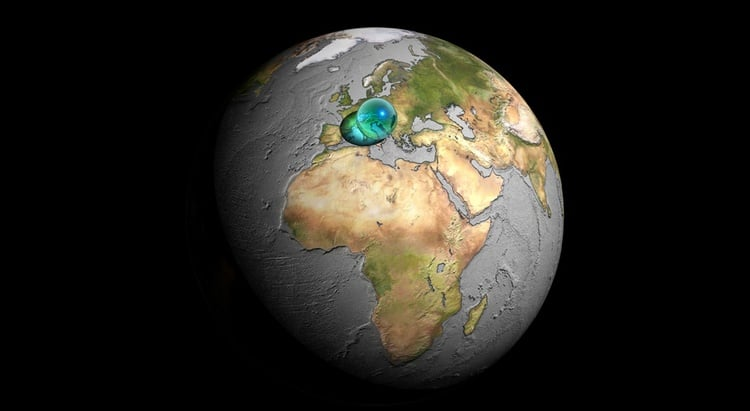 There is 1,408.7 million cubic kilometres of water on Earth. Over 97% of it is sea-water.       Image: Adam Nieman
