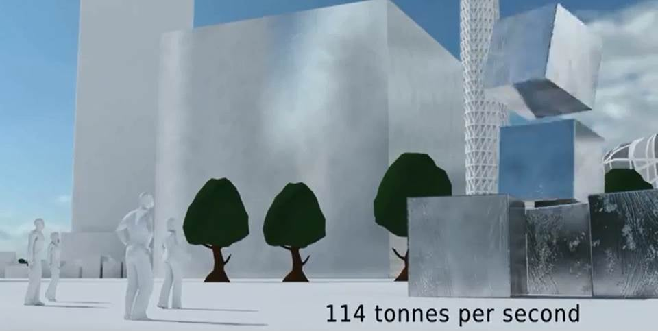Scene from the film showing the average rate of use of metal in the Asia Pacific region