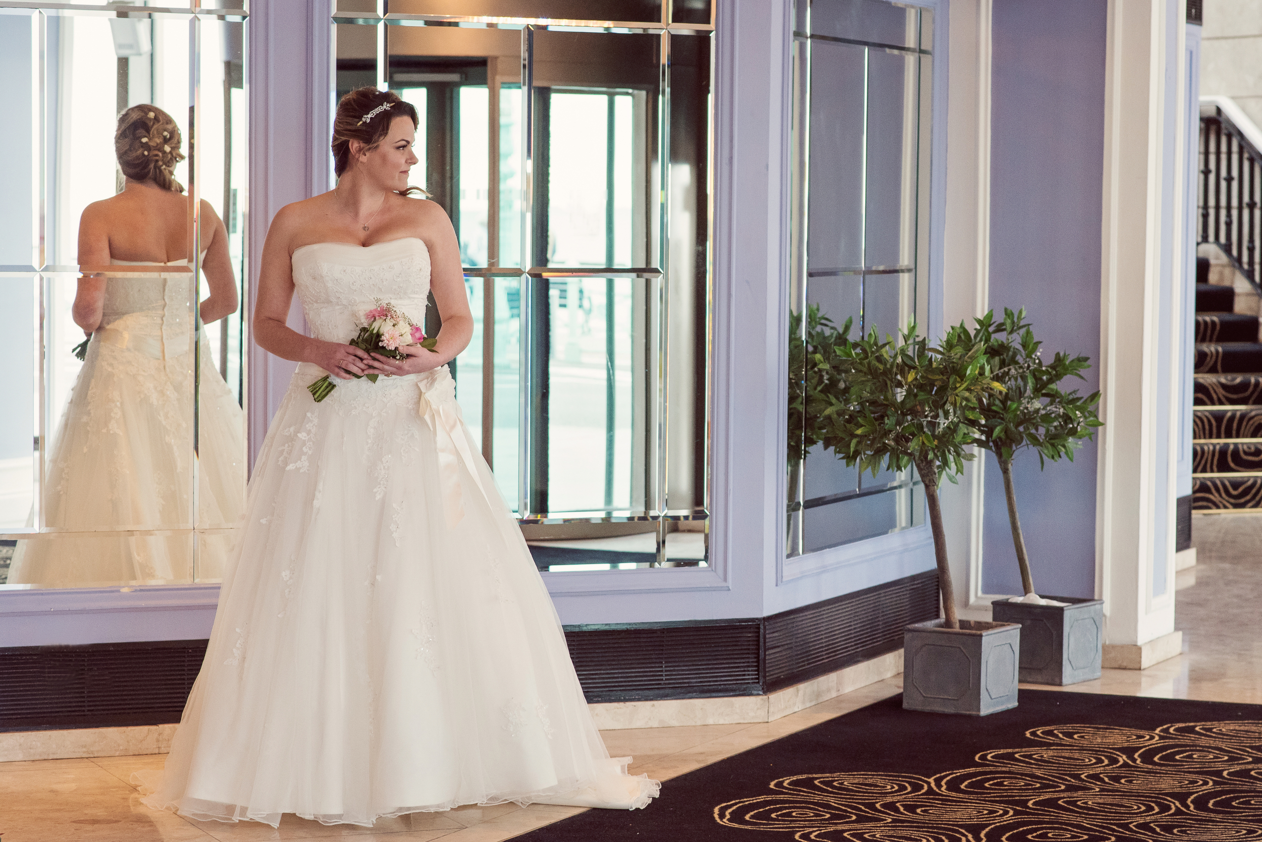Bride in her wedding dress, Waterfront Hotel Brighton