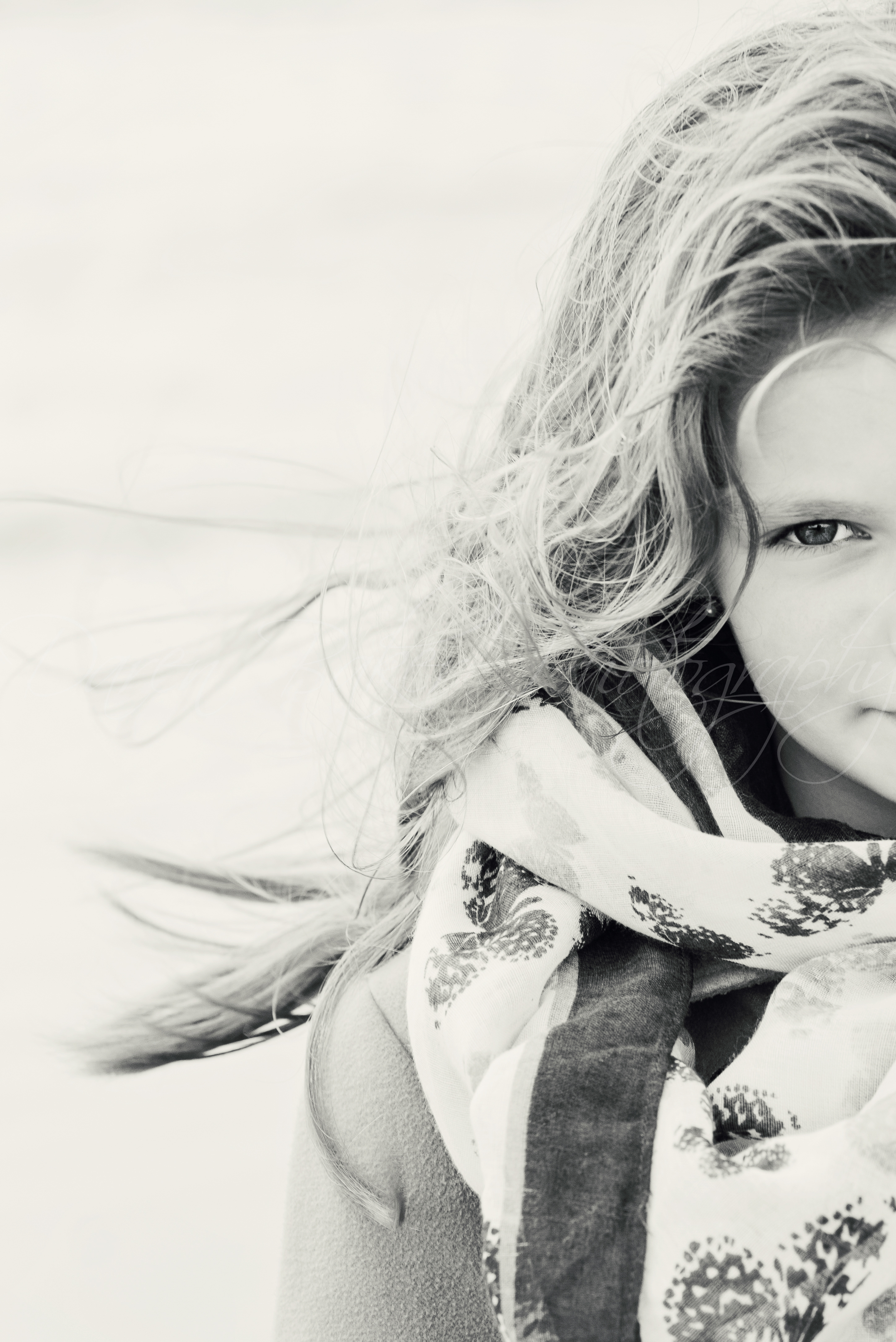 Black and white child portrait, Ferring Sussex