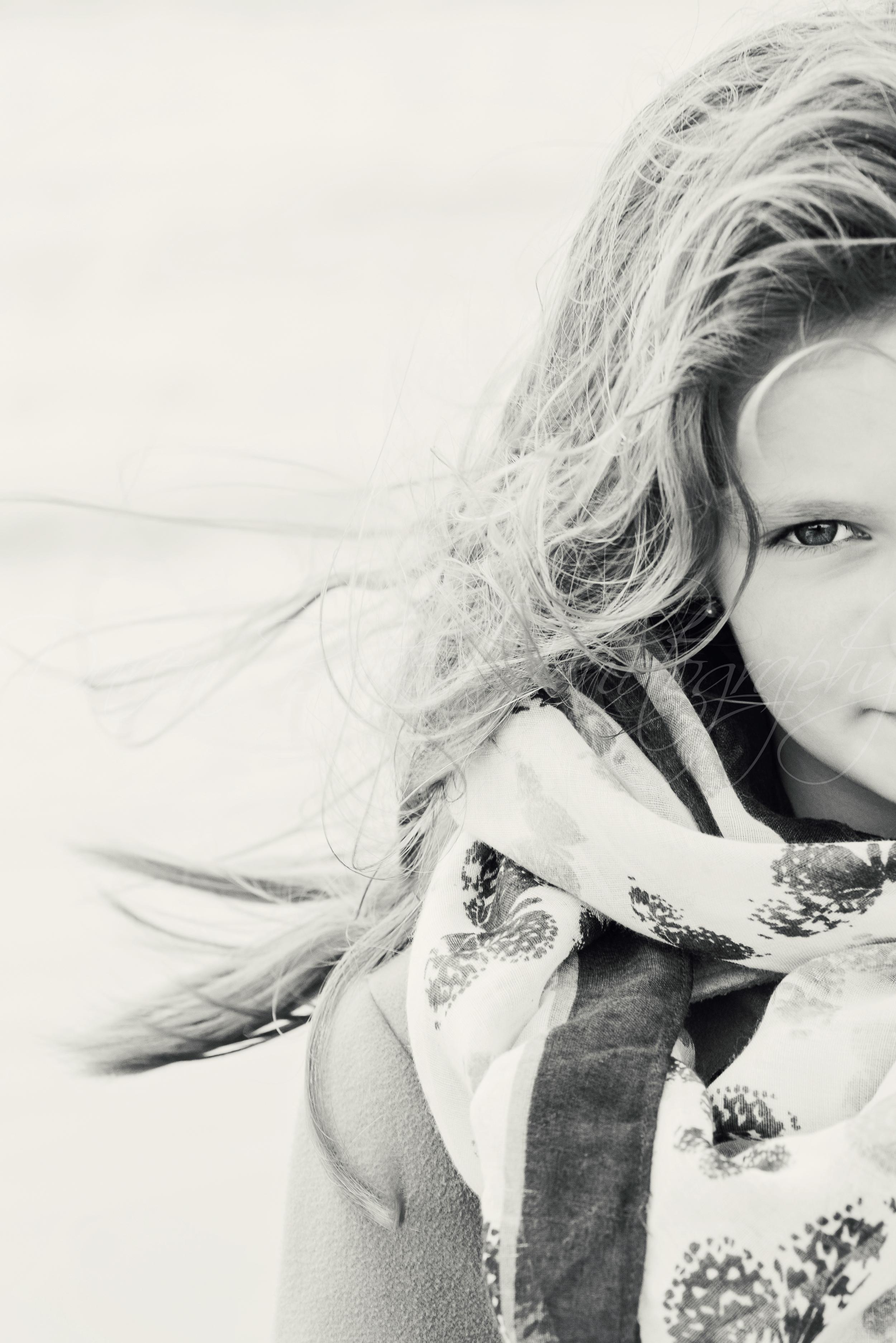 Black and white child portrait, Ferring Sussex