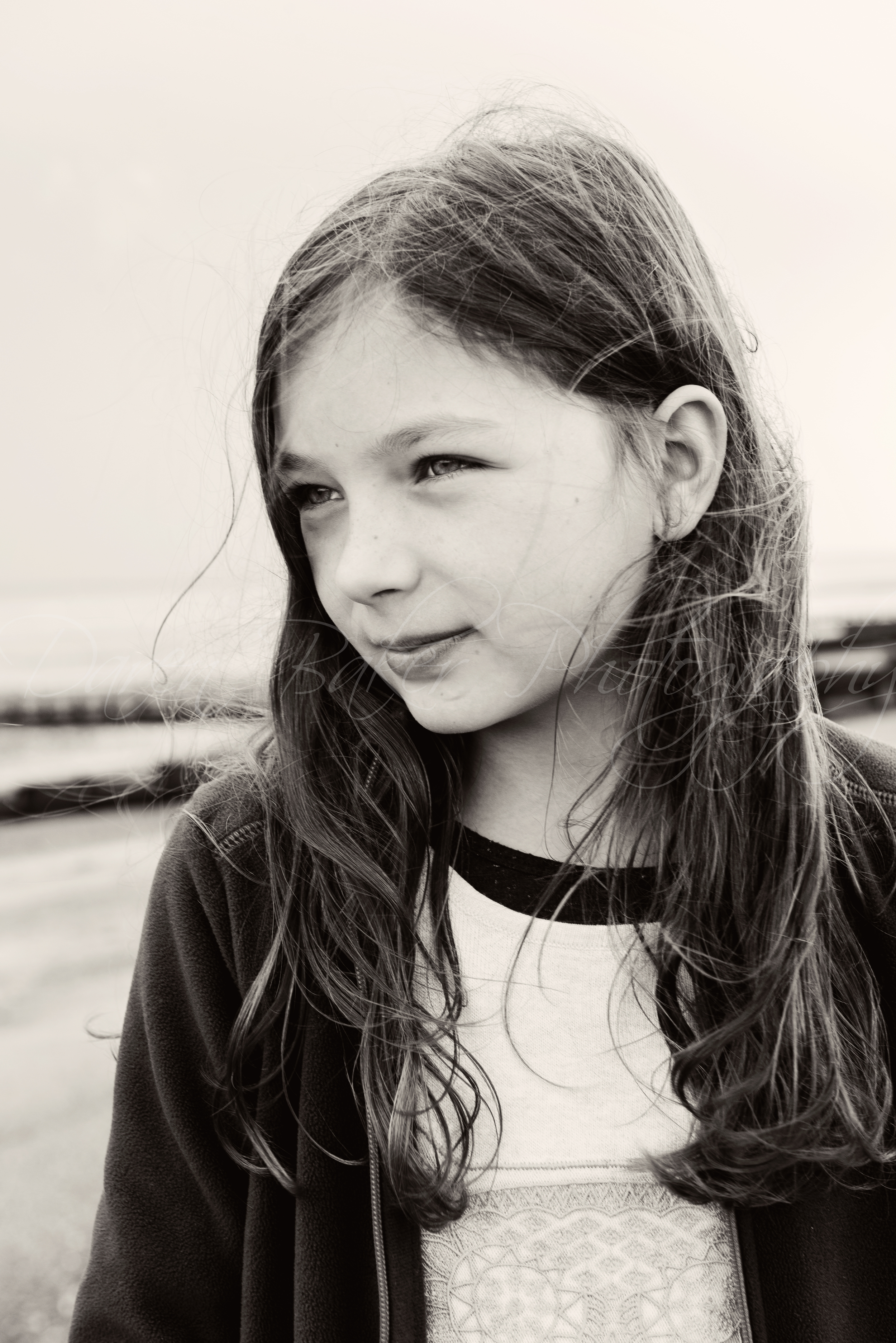 Black and white child portrait, Sussex