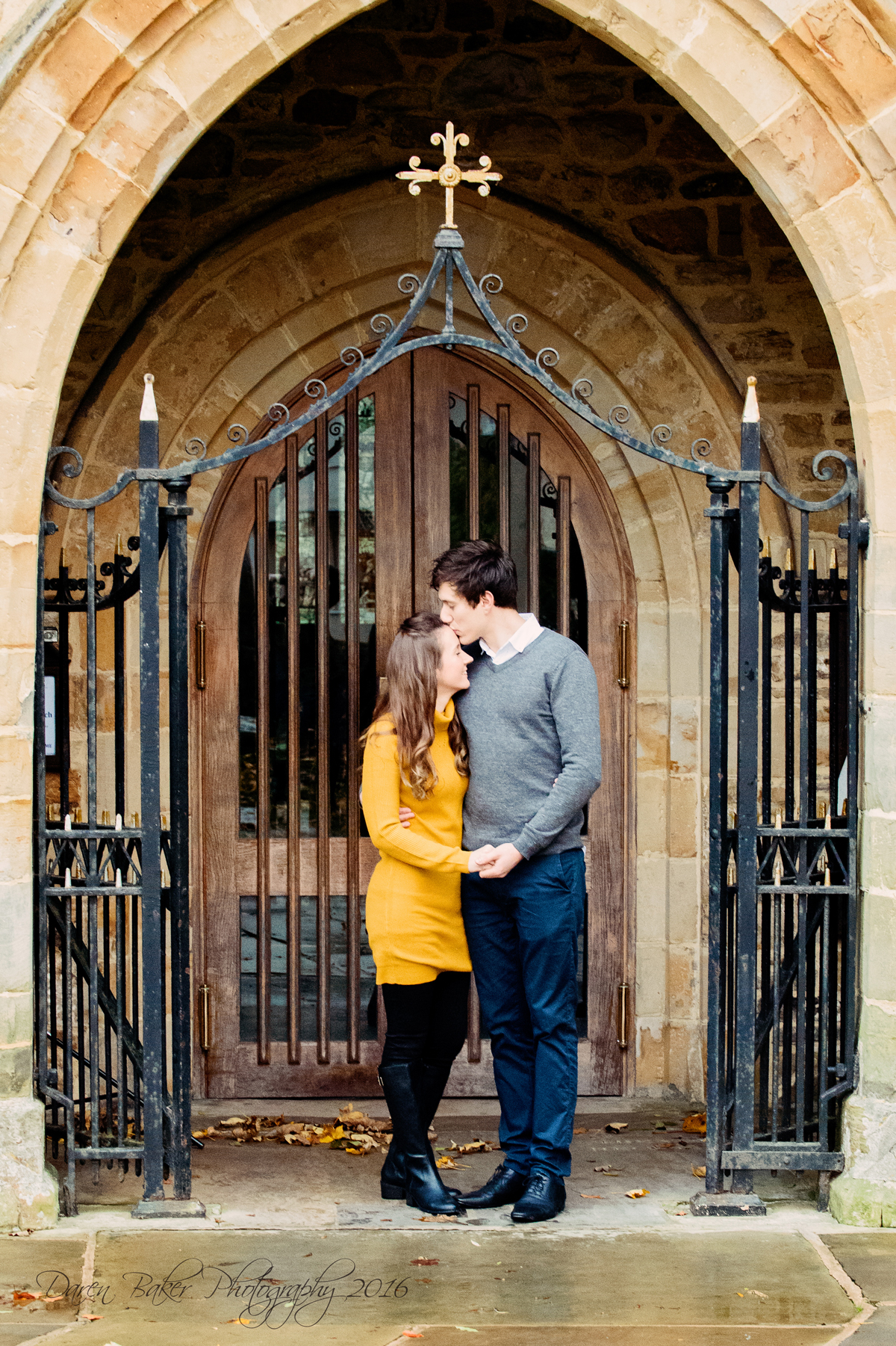 Engagement shoot outside St Mary's Church Horsham Sussex