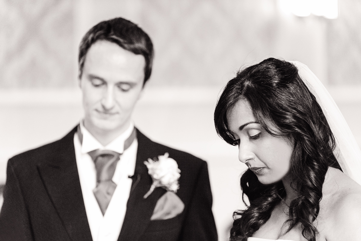 Black and white emotional bride and groom, wedding Windsor