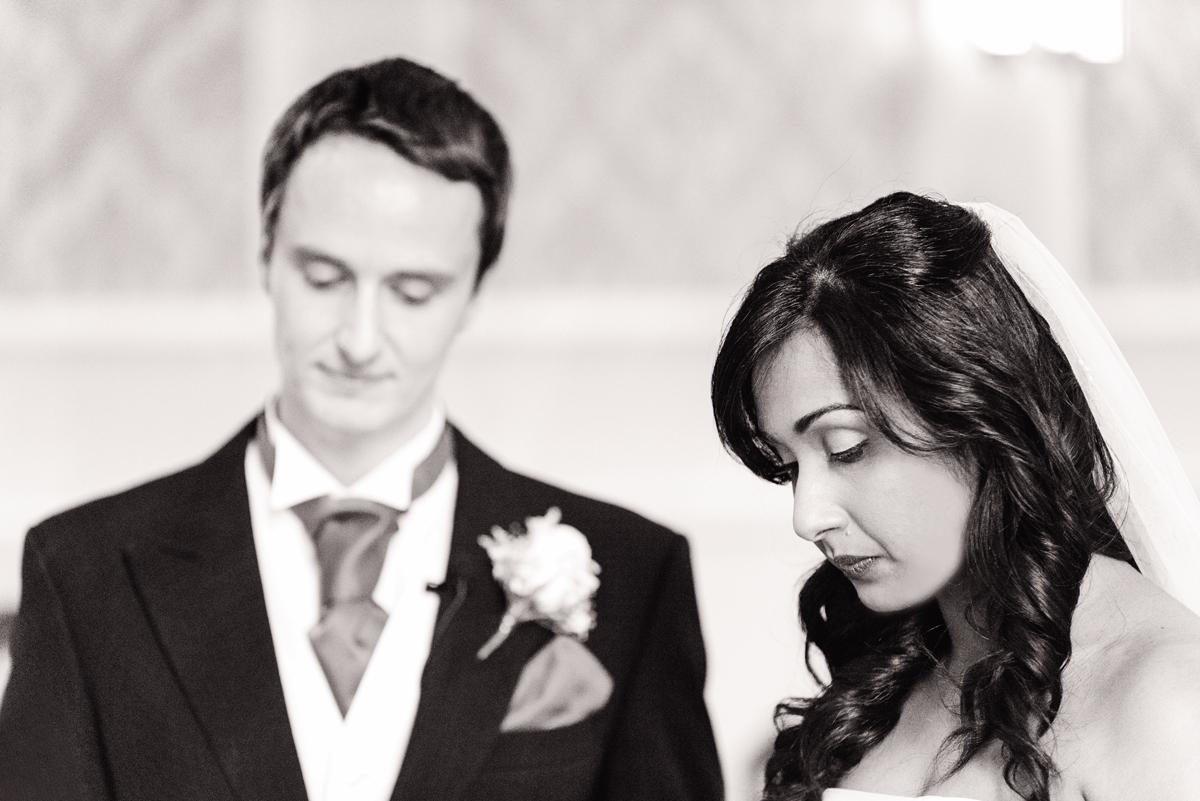 Black and white emotional bride and groom, wedding Windsor