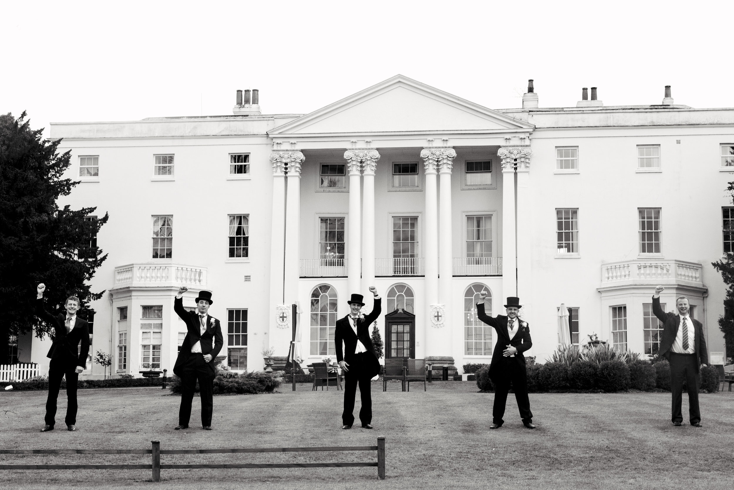 Wedding party, black and white, Windsor