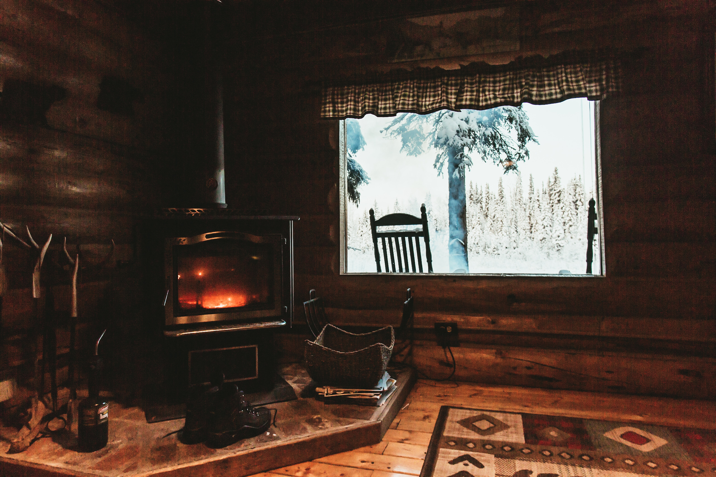 As soon as your enter the cabin, you're greeted with a fireplace and a view into the backyard.